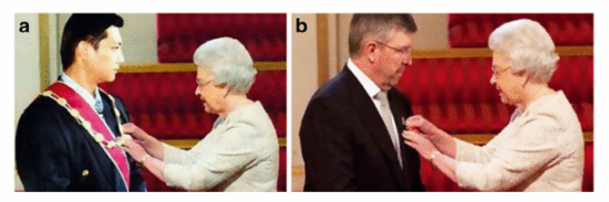 "Fig. 1 -The doctored image depicting Jeffrey Wong Su En while receiving the award from Queen Elizabeth II, published in Malaysian dailies, and the original picture of Ross Brawn receiving the Order of the British Empire from the Queen (b)"" [2]"