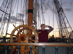 Brian at the ship's wheel Star of India