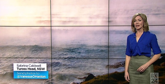 Vanessa O'Hanlon presenting my photograph of fog on the ocean, ABC Breakfast Show 4 June 2015